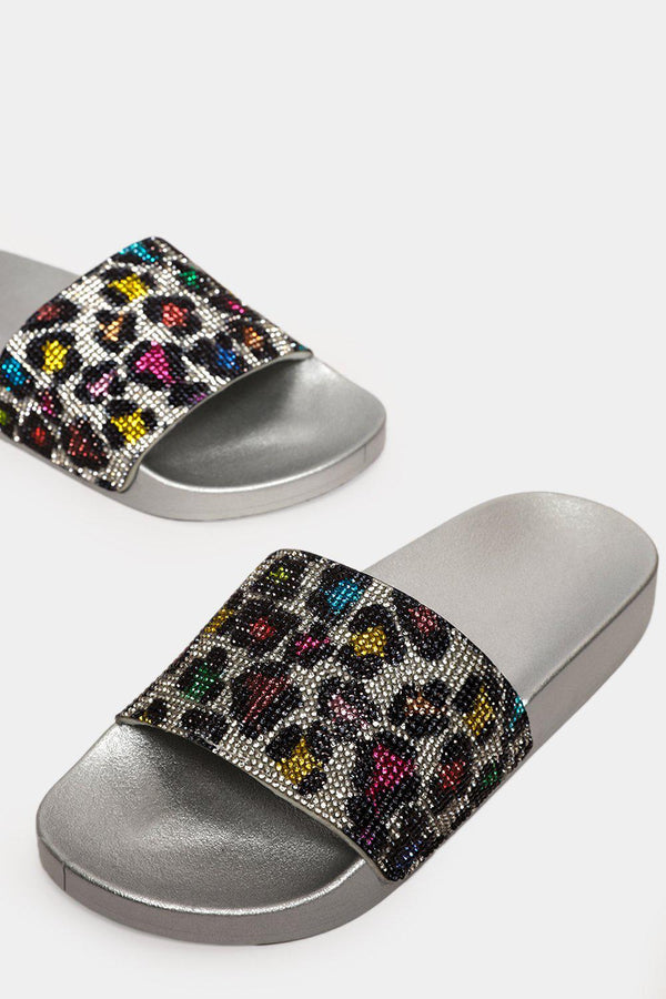 Multicolour Crystals Leopard Silver Sliders - SinglePrice