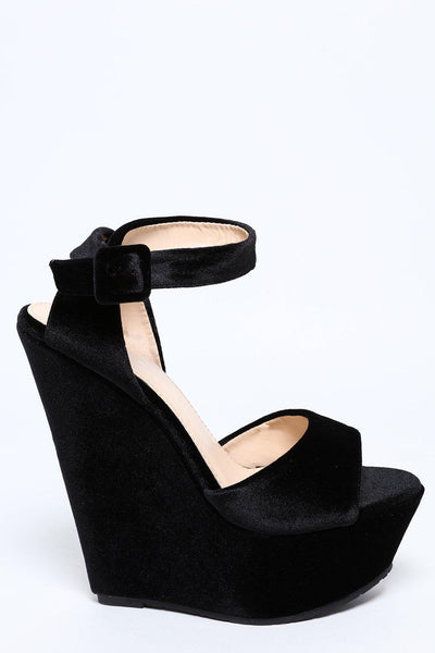 Black Velvet Wedge Shoes-SinglePrice