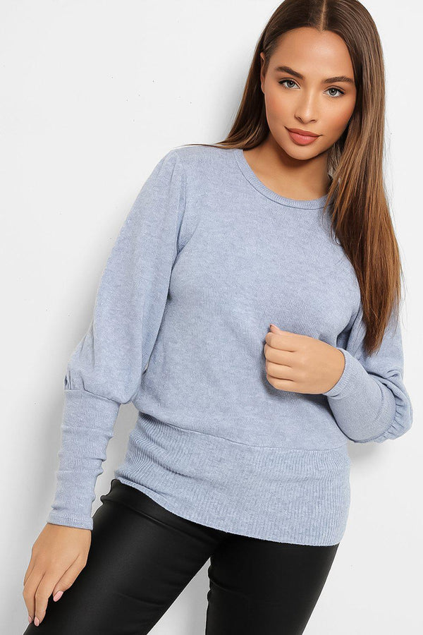 Blue Shimmer Knit Balloon Sleeves Pullover
