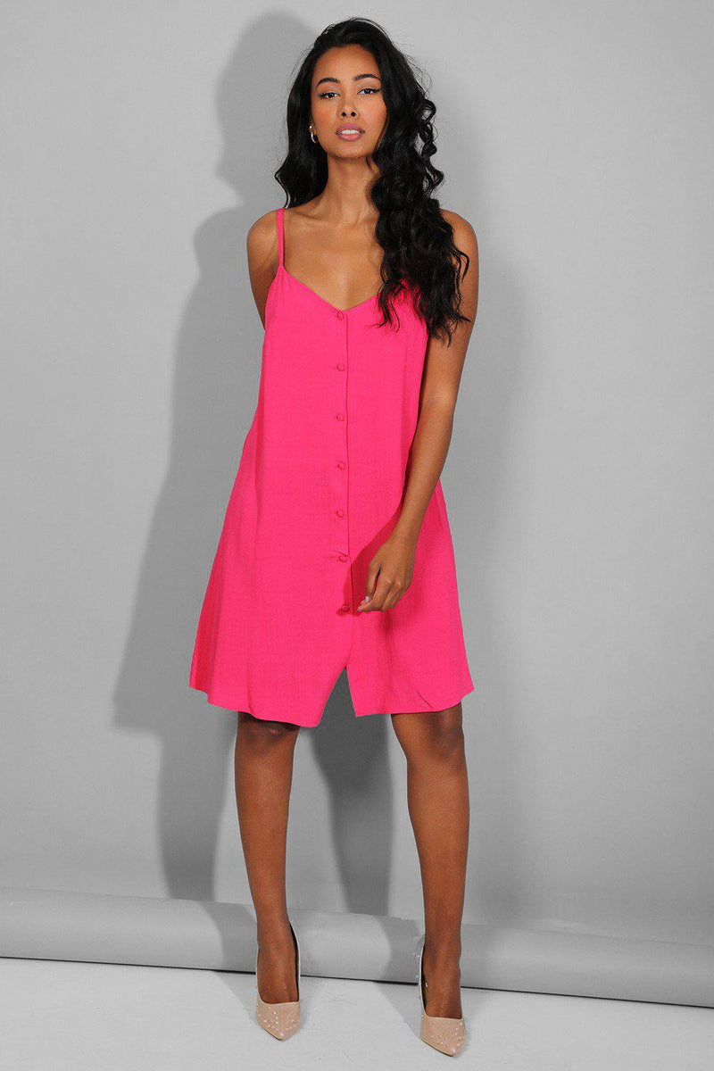 Hot Pink Buttoned Front Cami Dress - SinglePrice
