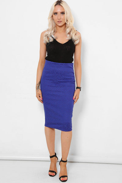 Blue Embroidered Lace Midi Skirt-SinglePrice