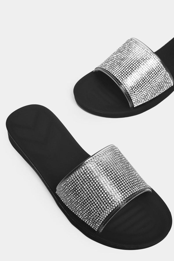 Black Encrusted Perspex Sliders - SinglePrice