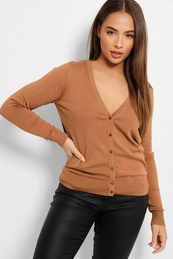 Brown Classic Cut Knitted Cardigan