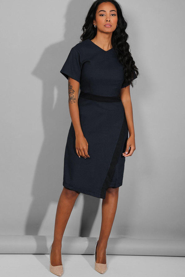 Navy Textured Asymmetric Front Smart Casual Midi Dress - SinglePrice