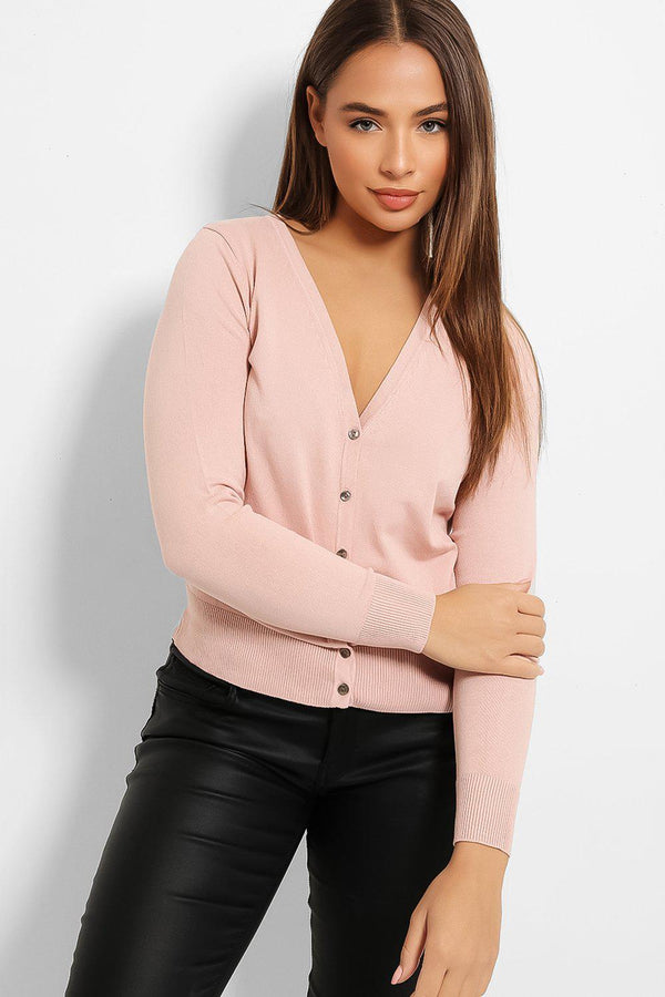 Pink Classic Cut Knitted Cardigan