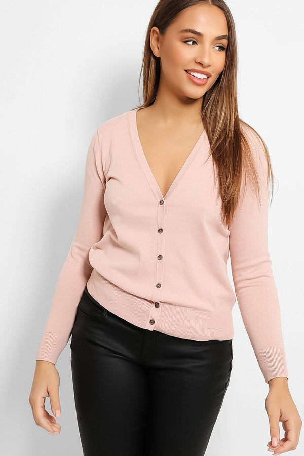 Pink Classic Cut Knitted Cardigan - SinglePrice