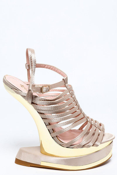Cut Out Wedge Taupe Strappy Satin Wedge-SinglePrice