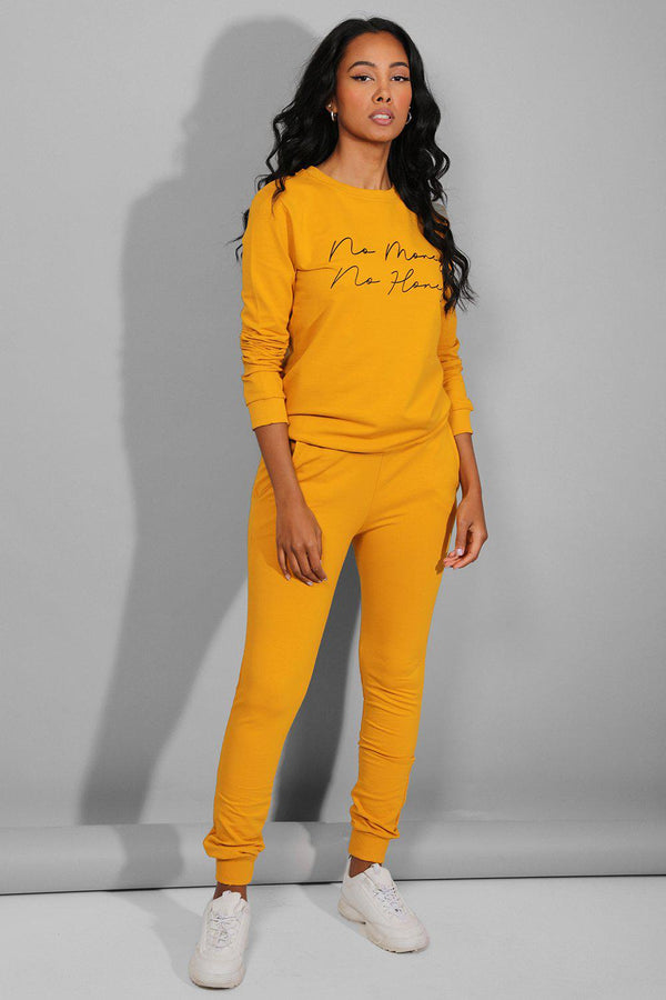 Mustard No Money No Honey Slogan Tracksuit - SinglePrice