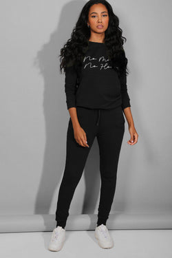 Black No Money No Honey Slogan Tracksuit - SinglePrice