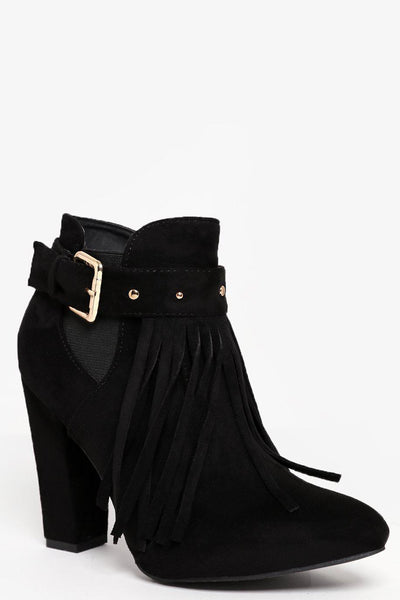 Block Heel Fringed Black Ankle Boots-SinglePrice