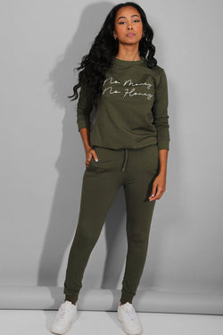 Khaki No Money No Honey Slogan Tracksuit - SinglePrice