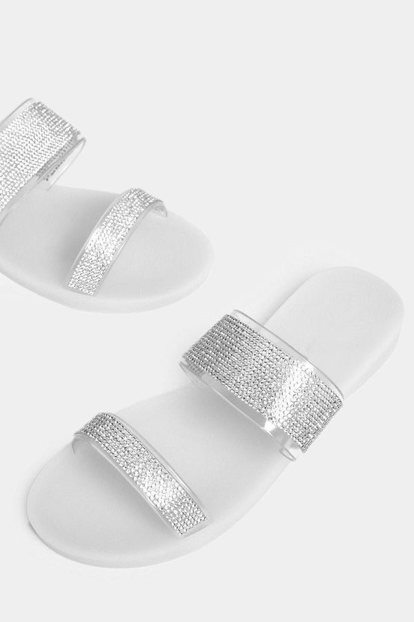 White Encrusted Double Perspex Straps Sliders - SinglePrice