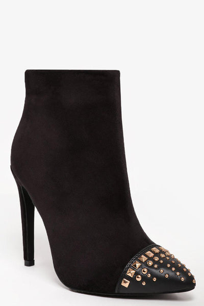 Studded Toe Black Suedette Ankle Boots-SinglePrice