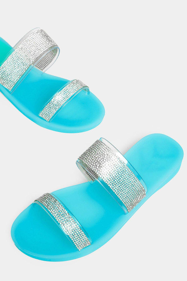 Light Blue Encrusted Double Perspex Straps Sliders - SinglePrice