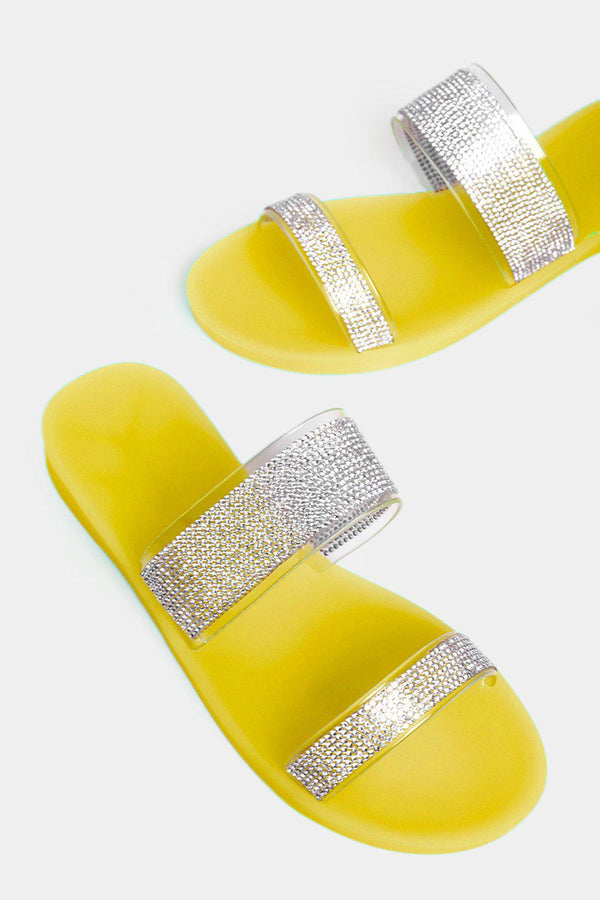 Yellow Encrusted Double Perspex Straps Sliders - SinglePrice