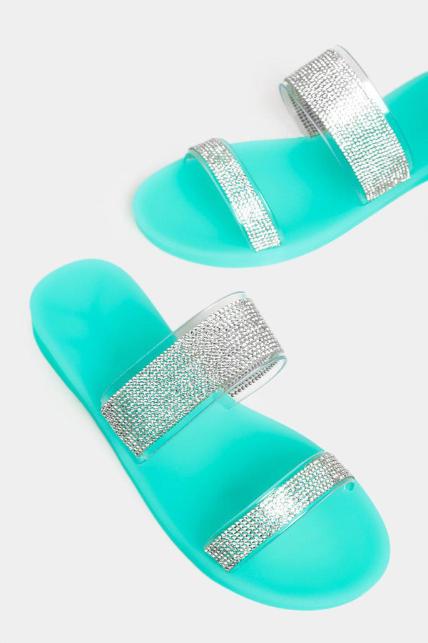 Light Green Encrusted Double Perspex Straps Sliders - SinglePrice