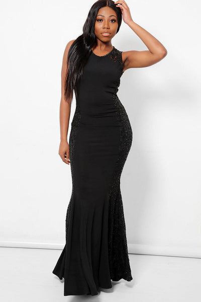 Sequinned Panels Sleeveless Black Maxi Dress-SinglePrice