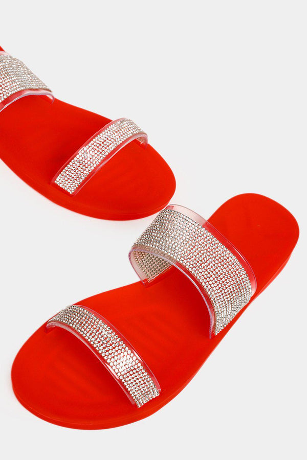 Red Encrusted Double Perspex Straps Sliders - SinglePrice