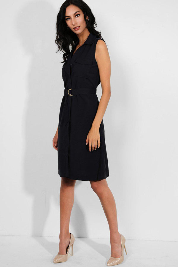 Navy Self-Belt Sleeveless Midi Shirt Dress - SinglePrice