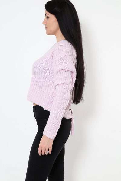 Corset Back Cropped Lilac Jumper-SinglePrice
