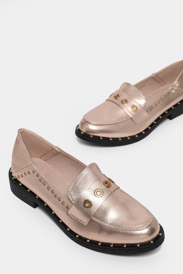 Champagne Eyelet Detail Faux Leather Loafers-SinglePrice