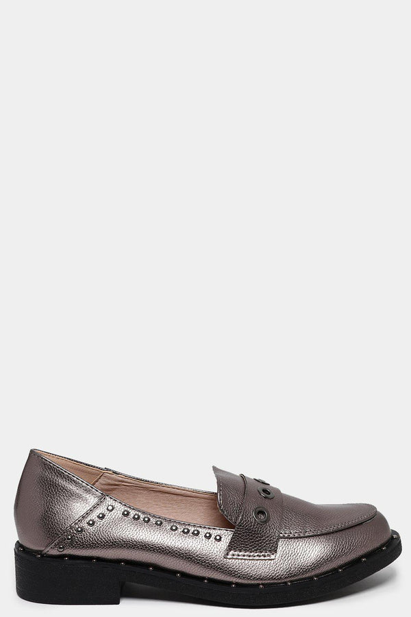 Gun Metal Eyelet Detail Faux Leather Loafers-SinglePrice