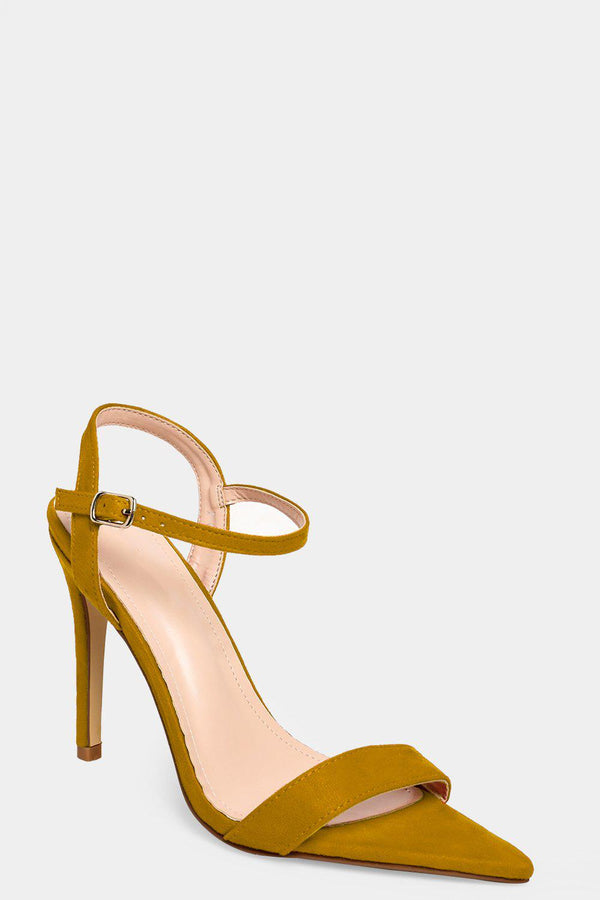 Yellow Faux Suede Pointy Barely There High Heels - SinglePrice