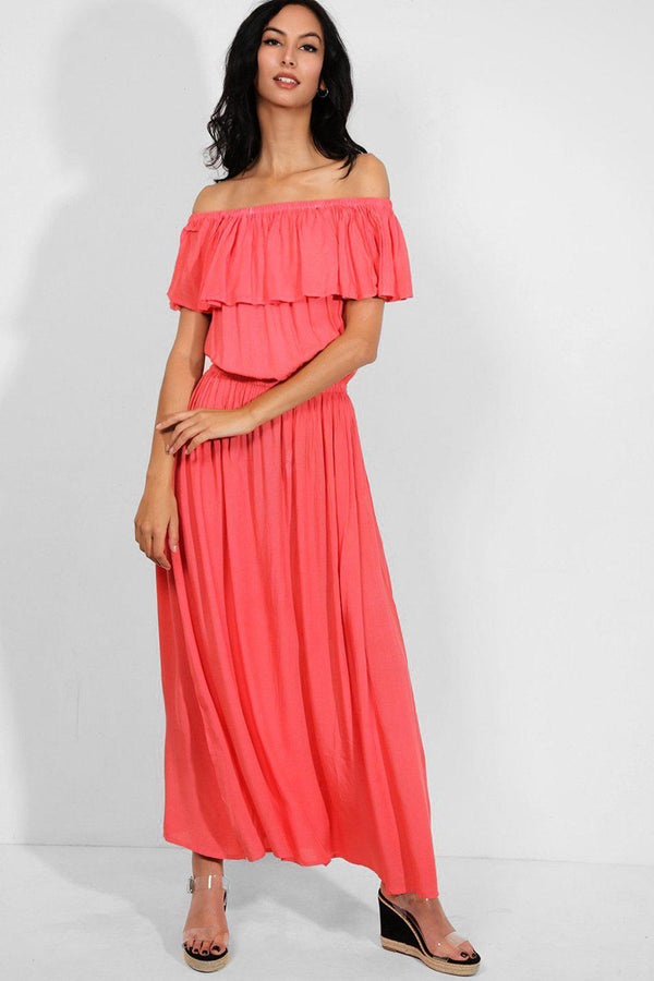 Coral Layered Off The Shoulder Maxi Dress - SinglePrice