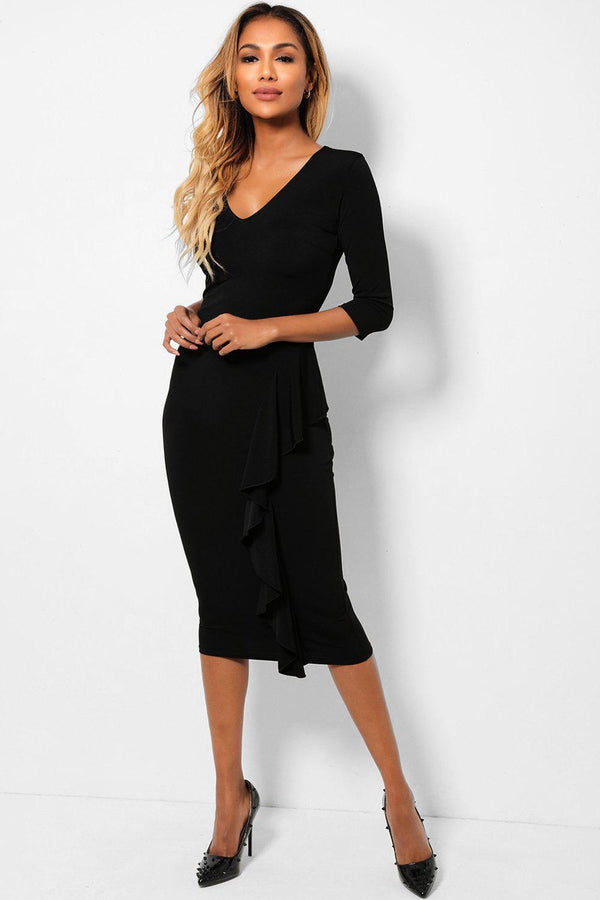 Black V-Neck Ruffle Detail Midi Slinky Dress-SinglePrice