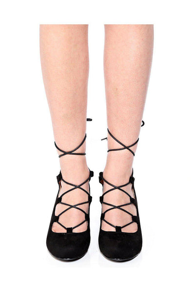 Black Lace Up Suede Wedges-SinglePrice