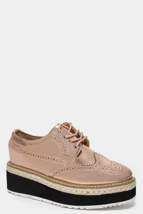 Metallic Finish Champagne Wedge Brogues-SinglePrice