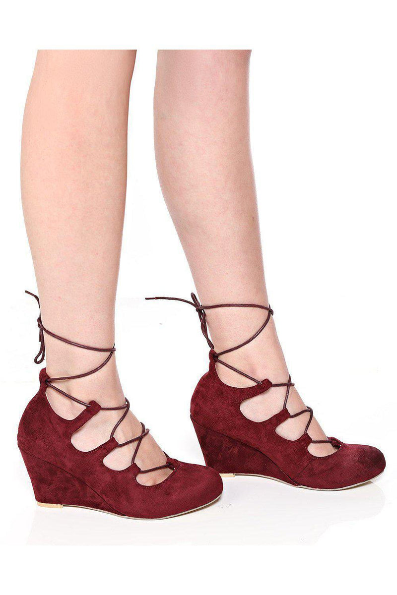 Maroon Lace Up Suede Wedges-SinglePrice