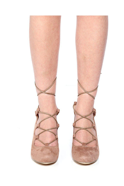Khaki Lace Up Suede Wedges-SinglePrice