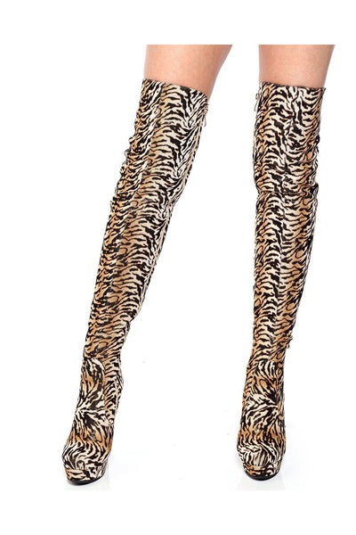 Tiger Print Over The Knee Boots-SinglePrice