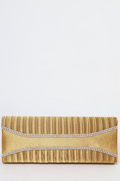 Crystals Embellished Pleated Satin Panels Gold Evening Bag-SinglePrice