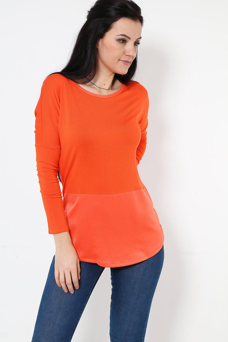 Round Neck Satin Panel Orange Top - SinglePrice
