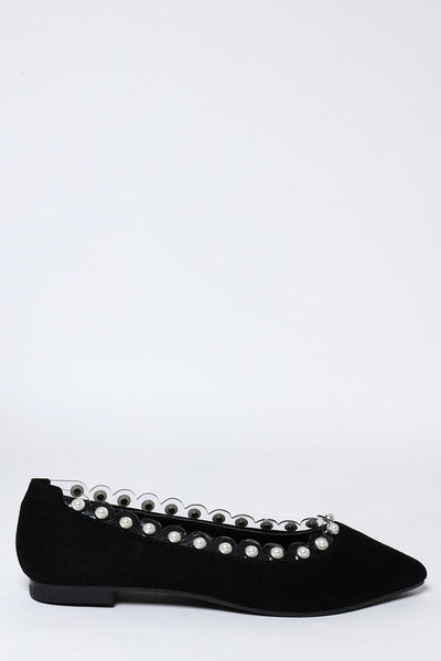 Perspex And Pearls Trim Black Flats-SinglePrice