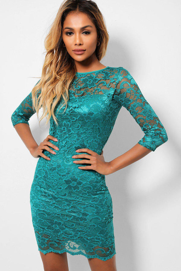 Dark Green Lace Back Cut Out Bodycon Mini Dress-SinglePrice