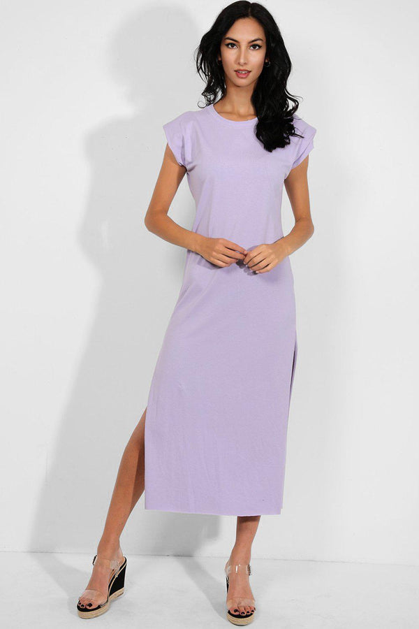 Lilac High Side Splits Power Shoulder T-Shirt Dress - SinglePrice