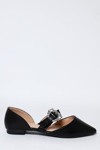 Jewelled Buckle Black Point Toe Flats-SinglePrice