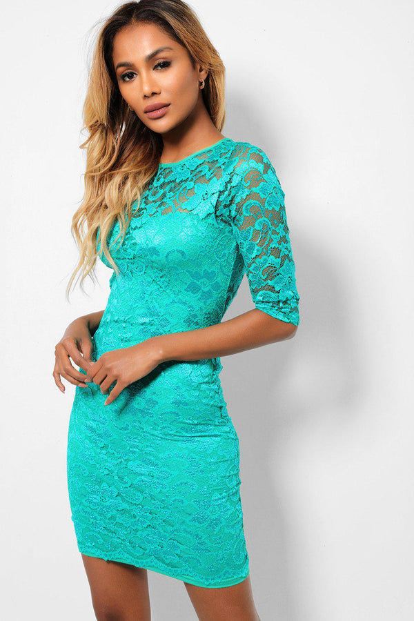 Light Green Lace Back Cut Out Bodycon Mini Dress-SinglePrice
