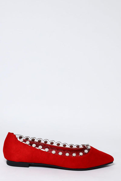 Perspex And Pearls Trim Red Flats-SinglePrice