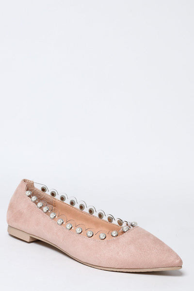 Perspex And Pearls Trim Nude Flats-SinglePrice