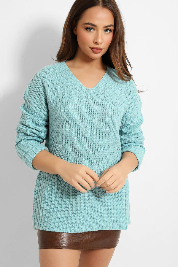 Aqua V-Neck Ribbed Side Knit Jumper - SinglePrice