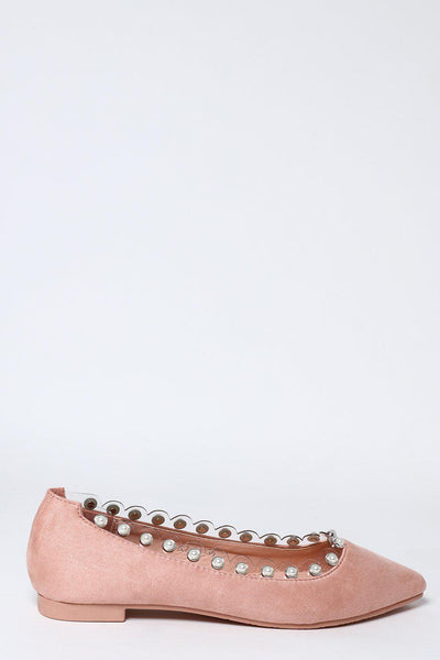 Perspex And Pearls Trim Pink Flats-SinglePrice