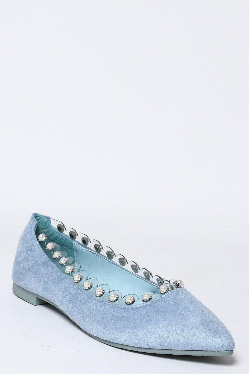 Perspex And Pearls Trim Blue Flats-SinglePrice