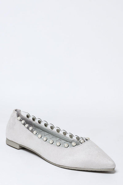 Perspex And Pearls Trim Grey Flats-SinglePrice
