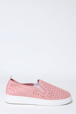 Pink Perforated Slip-On Trainers-SinglePrice