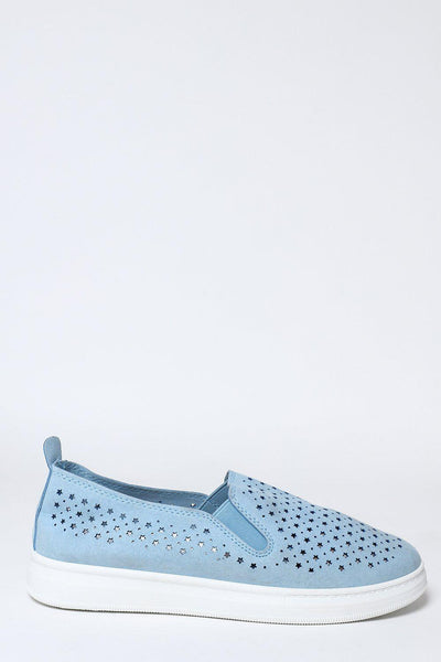Blue Perforated Slip-On Trainers-SinglePrice