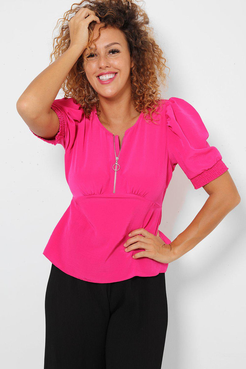 Hot Pink Cut Out Back Top - SinglePrice